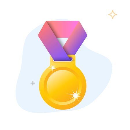Gold medal with red ribbon vector illustration.