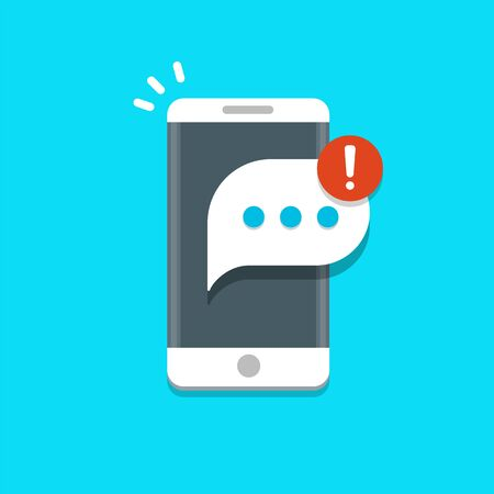 New message notification on mobile phone vector illustration, message bubble on smartphone screen. 矢量图像