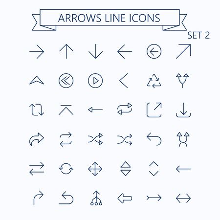 Thin line vector arrows icon set. Editable stroke. 24x24 px. Pixel Perfect. Set 2. Çizim