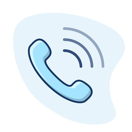 Call vector icon. Telephone handset line illustration.