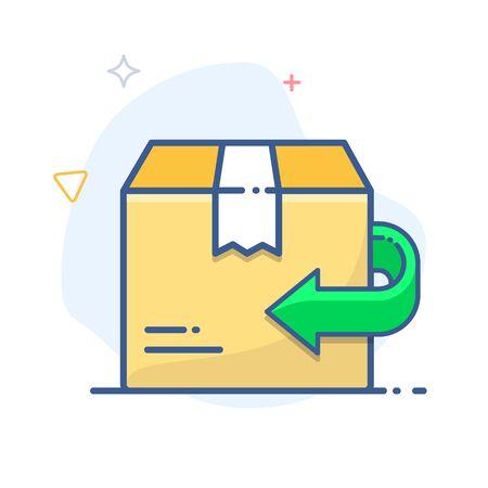 Rückholpolitik-Zeichen. Symbol für den Warenaustausch. Abbildung mit Rücksendepfeil und Lieferkarton.