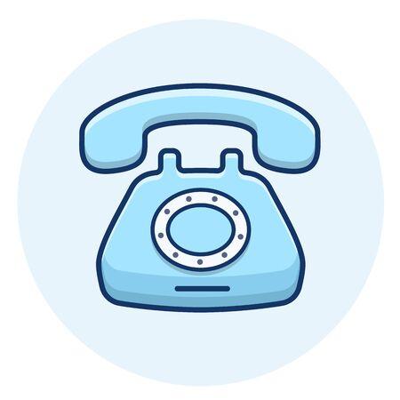 Retro phone vector icon.Vintage telephone line illustration.
