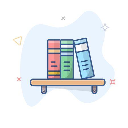 Bookshelf outline illustration. Bookcase line vector icon.