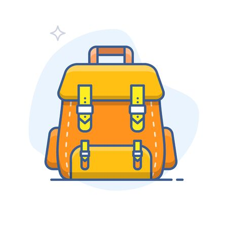 Backpack vector outline icon. School bag line illustration.