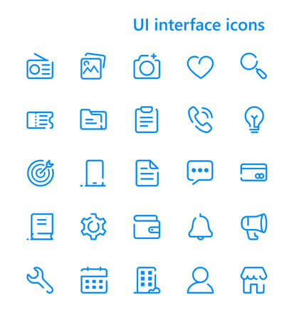 UI interface vector line icons set.