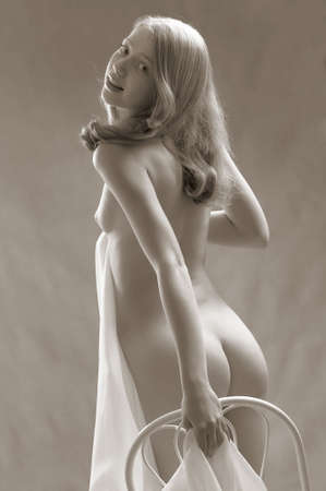 naked youth: Beautiful sexy blond nude girl with material