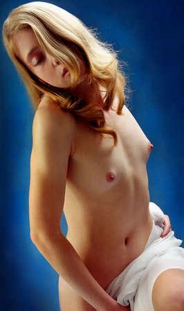naked breast: Beautiful  girl Stock Photo