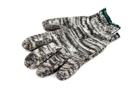 pretentious: Fabric mixed color working gloves on the white background Stock Photo