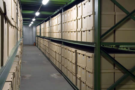 depository: Cardboard boxes on the shelves in the warehouse