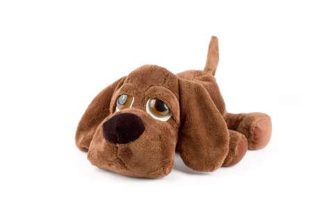 sad puppy toy over white background