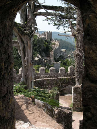 sintra: Moorish castle in Sintra, Portugal Stock Photo