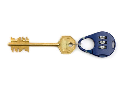 Blue handled combination lock isolated and yellow key photo