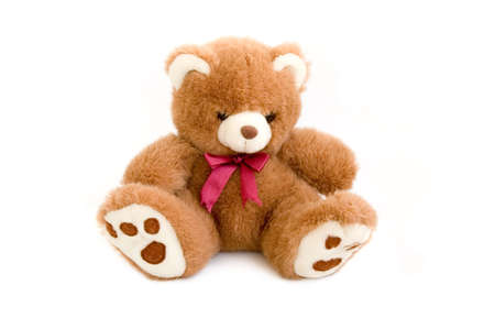 teddybear: Teddy Bear toy with red bow isolated over white