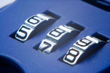 8 9: Numbers 5 6 7 8 9 on the blue combination lock Stock Photo