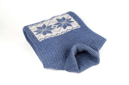 Inverno maglione blu con fiocco di neve isolati su bianco ornamento Archivio Fotografico - 764324