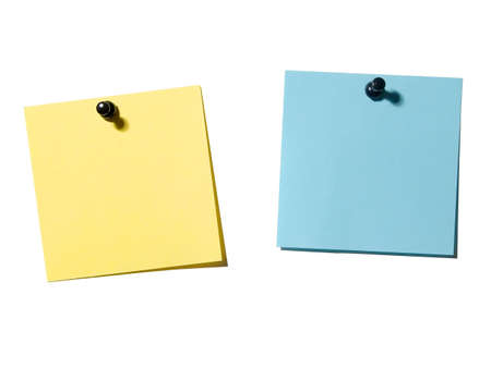 billboard posting: Yellow and blue empty note paper on the white board