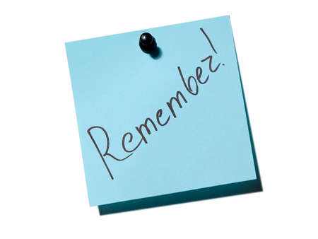 pamiętaj: Blue Note papier z napisem pamiętać o whiteboardu