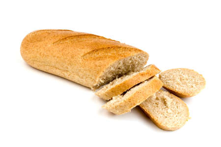 Sliced bread with bran isolated over white
