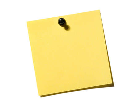 Yellow empty note paper on the white board