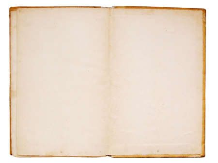Open old book isolated over white background