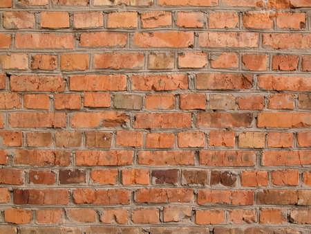 Real red brick old wall background texture Stock Photo