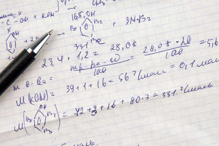 Copy-book sheet of paper with formulas and pen Stock Photo - 846542