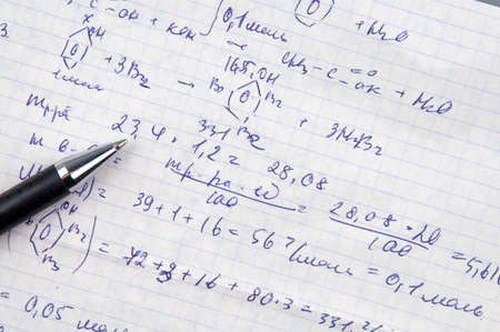Copy-book sheet of paper with formulas and pen Stock Photo - 846541