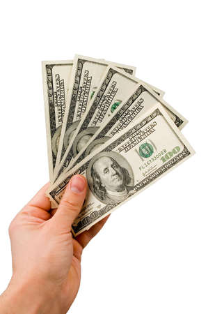 Five hundred dollars in the hand isolated over white photo