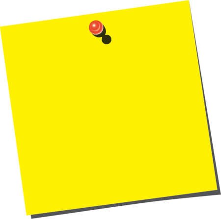 yellow sticky note: Yellow empty note paper with red pin on the white board