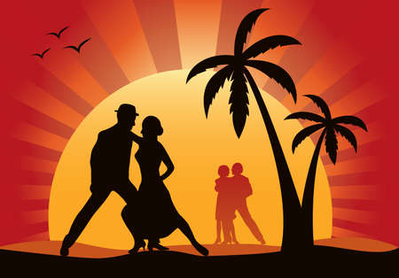 dusk: Silhouettes of dancers on a background of a sunset Illustration