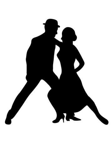 waltz: Couple dancers silhuette vector illustration Illustration