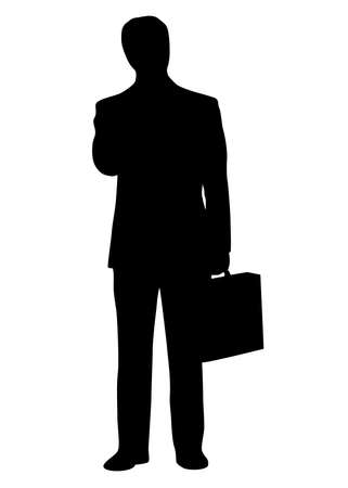 Businessman standing with briefcase in the hand. Black silhouette. Vector illustration. Vector