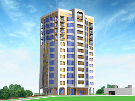 render residence: 3d Model of city house and nearest territory Stock Photo