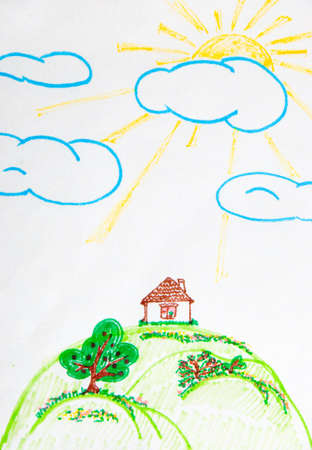 flower age: Childrens drawing - the house on a hill, sun beams and clouds