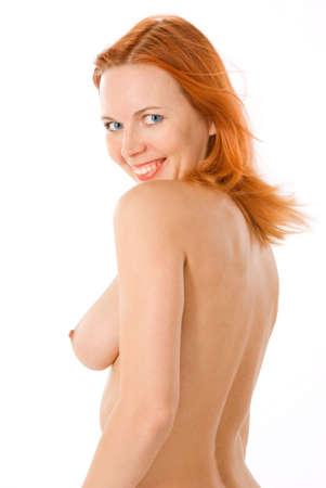 tetas: Sexy redhead mujer desnuda en estudio en blanco  Foto de archivo