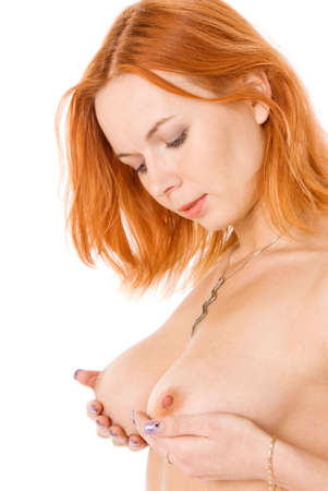 sexy topless women: Sexy  redhead woman in studio on white Stock Photo