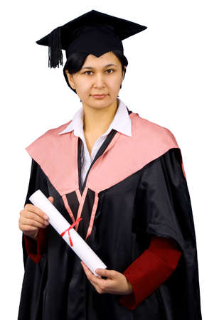 baccalaureate: Young woman in black graduation gown hold certificate of degree. Isolated over white background.