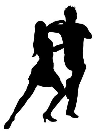 tango: Couple dancers silhouette vector illustration