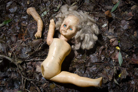 Partitioned blonde doll with blue eyes lie in the ground photo