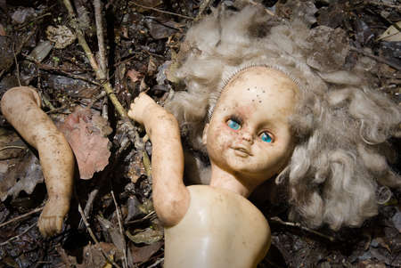 oddity: Partitioned blonde doll with blue eyes lie in the ground