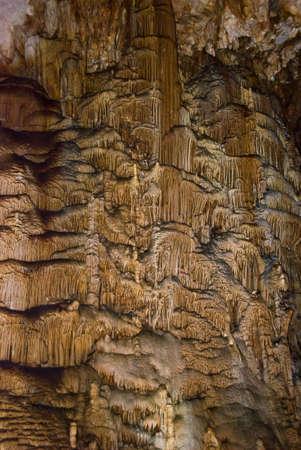 stalagmites: Stalactites, stalagmites and other formations in a cave Emine-bair-hosar , Chatyrdag plateau, Crimea, Ukraine Stock Photo