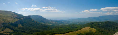 horisontal: Crimea mountains in july. Horisontal panoramic landscape.