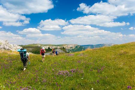 Family hikes in  Crimea mountains photo