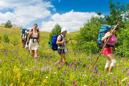 crimea: Group of people hikes in  Crimea mountains Stock Photo