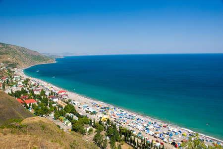 Camp on the Black Sea coast, Crimea, Ukraine. Top view.  photo