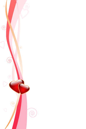Love background with stripes, curls and hearts photo