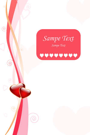 Love greeting card design with stripes, curls and hearts Stock Photo - 4184294