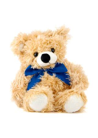 teddybear: Teddy Bear toy with blue bow isolated over white