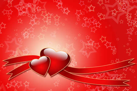 Two hearts and ribbons over star background - just write your text on it Stock Photo - 4274322