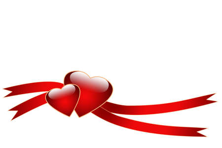 2 objects: Two hearts and ribbons - just write your text on it